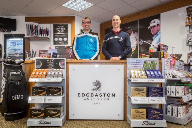 David Fulcher with retail manager Joshua Harvey at Edbgaston Golf Club